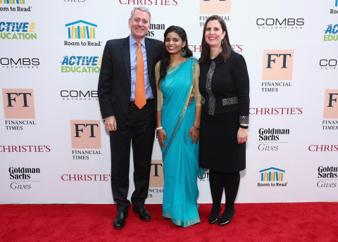 (L-R) Room to Read founder John Wood, Room to Read beneficiary Roshanara and Co-Founder & CEO of Room to Read Erin Ganju attend the 2017 Room To Read Gala at The High Line Hotel on May 11, 2017 in New York City. (Photo by Paul Zimmerman/WireImage)