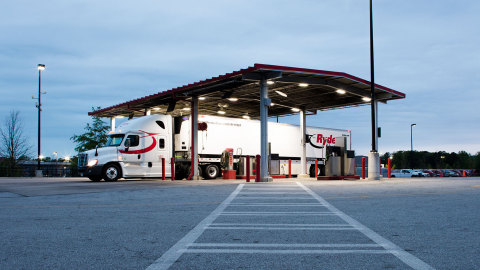 Ryder tractor and trailer parked at a Ryder fuel island.  (Photo: Business Wire)