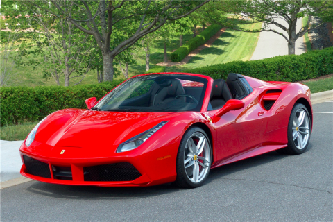 A very rare 2017 Ferrari 488 Spider with only 77 miles will cross the block at the Barrett-Jackson 2nd Annual Northeast Auction in June (Photo: Business Wire)