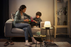 The Philips Hue White Ambiance Being Flushmount and Wellner and Wellness (pictured) table lamps are now available for pre-order, while quantities last. (Photo: Business Wire)