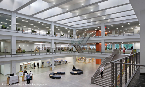 Eaton announces the winners of the 40th Annual SOURCE Awards lighting design competition. Tec Studio Inc. was named the overall Commercial Category winner for the lighting of the Columbus Metropolitan Library-Main Branch in Ohio. (Photo: Business Wire)
