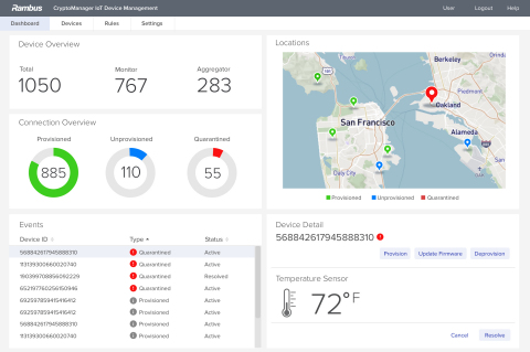 Rambus CryptoManager™ IoT Device Management Dashboard (Graphic: Rambus)