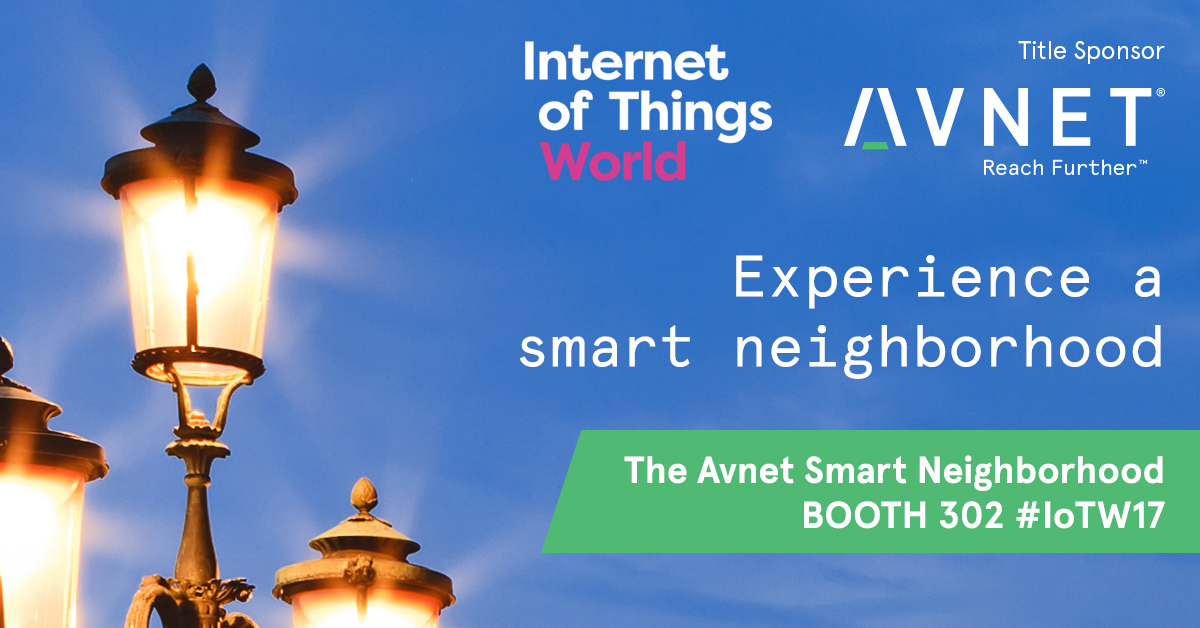 """Avnet showcases how IoT impacts daily life in its """"Smart Neighborhood"""" Booth #302 at Internet of Things World, May 16-18, Santa Clara Convention Center. (Graphic: Business Wire)"""