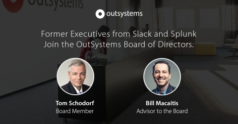 Former executives from Slack and Splunk join the OutSystems team to support record growth. (Graphic: Business Wire)