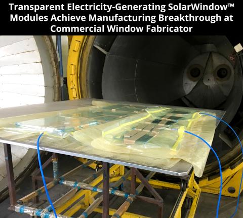 Transparent Electricity-Generating SolarWindow™ Modules Achieve Manufacturing Breakthrough at Commercial Window Fabricator (Photo: SolarWindow)