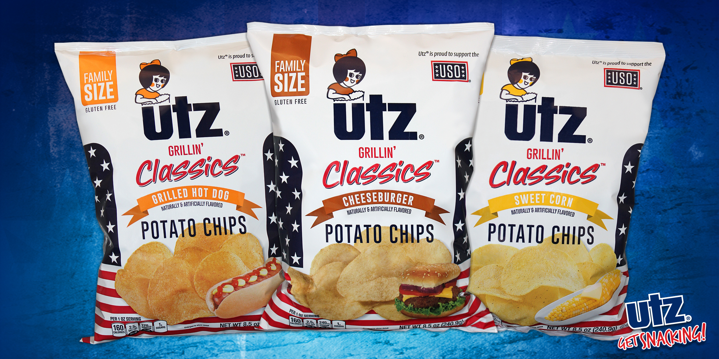 New Utz® Grillin' Classics™ Potato Chips with flavors that include Cheeseburger, Sweet Corn, and Grilled Hot Dog. (Photo: Business Wire)