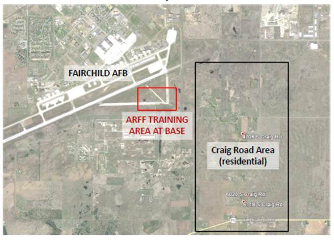 In Airway Heights, and the nearby town of Medical Lake, PFOA and PFOS chemicals may have originated from AFFF foam used at nearby Fairchild Air Force Base, since the 1970s. A number of private residential wells are also affected at levels several times higher than the EPA's Health Advisory limit. (Photo: Business Wire)