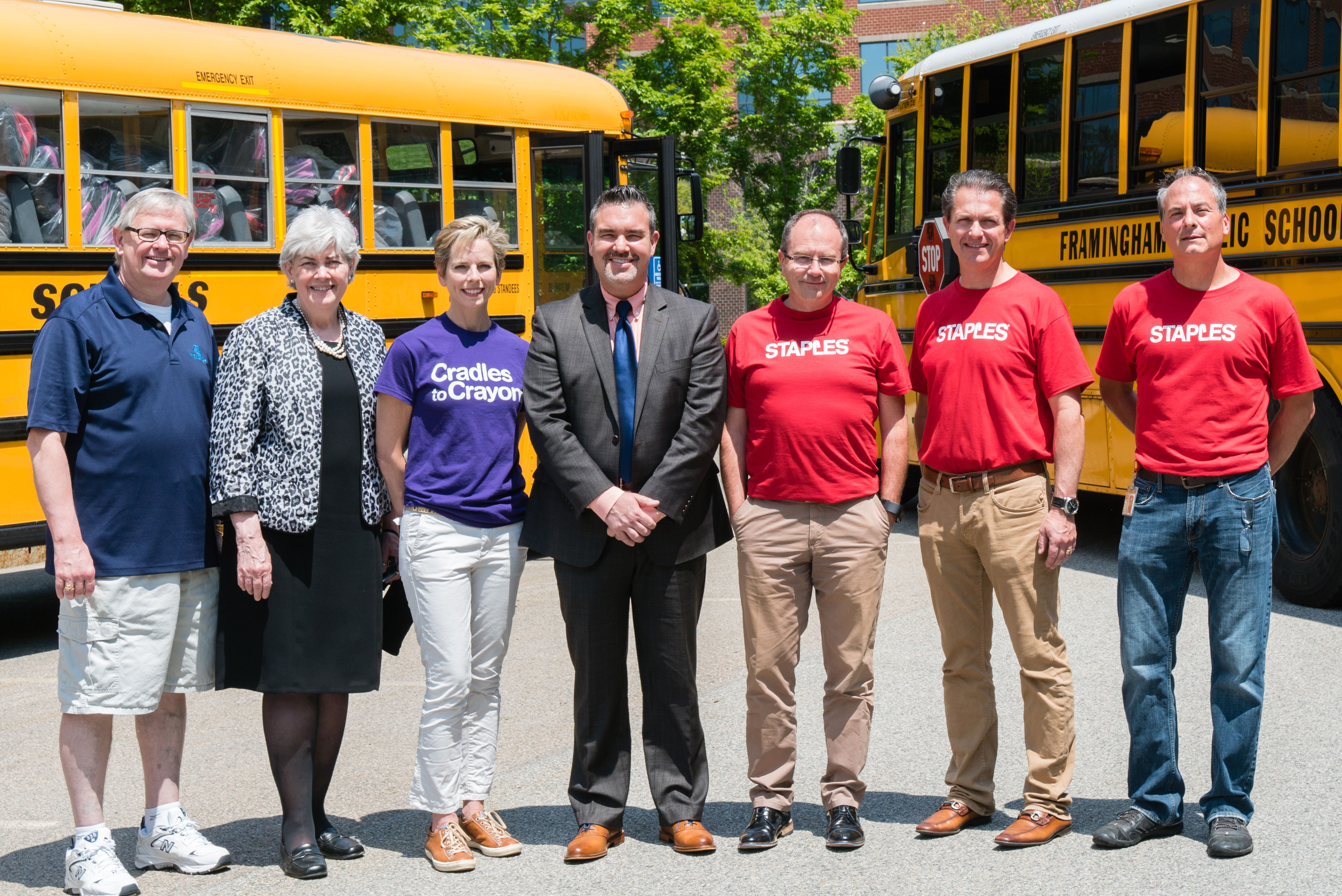 (Left to right) Fran Hurley, President of Boys & Clubs of MetroWest; Dr. Catherine Latham, Superintendent of Lynn Public Schools; Lynn Margherio, Founder and CEO of Cradles to Crayons; Dr. Robert Tremblay, Superintendent of Framingham Public Schools; Regis Mulot, Chief Human Resources Officer of Staples and Staples Foundation Executive Vice President; Peter Scala, Chief Merchandising Officer of Staples, and Wendell Butler, Regional Vice President Supply Chain of Staples. (Photo: Business Wire)