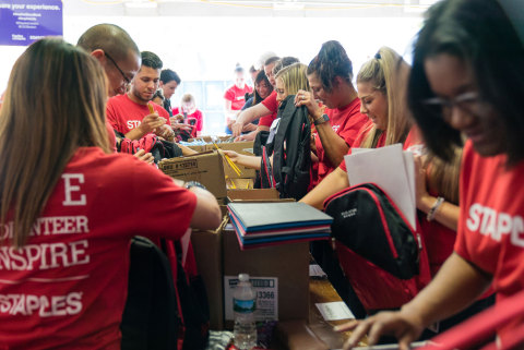 Students in need from Framingham, Lynn, Springfield, and Worcester will collectively receive 20,000 backpacks filled with school supplies by 1,200 Staples associates. (Photo: Business Wire)