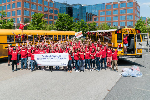 The Staples Brands Group, joined by other vendors to help donate supplies for the event, displays their spirit at the 4th Annual Cradles to Crayons Backpack-A-Thon. (Photo: Business Wire)