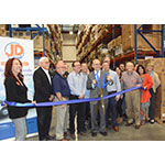 Mark Ford, President of JD Food, with City of Fresno Mayor Lee Brand, Fresno County Supervisor Sal Quintero and others to commemorate the opening of its 65,000 sq. ft. state-of-the-art food distribution center. (Photo: Business Wire)