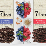 The first Dark Chocolate Thins assortment flavors from 7th Street Confections include: raspberry & quinoa; strawberry; blueberry & almond; and pineapple & toasted coconut. (Photo: Business Wire)