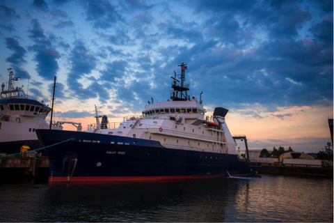 The Sally Ride, a Neil Armstrong Class Auxiliary General Oceanographic Research (AGOR) vessel, dry docked at Bay Ship and Yacht on April 15, 2017, to carry out modifications to superstructure and to perform general vessel maintenance. (Photo: Business Wire)