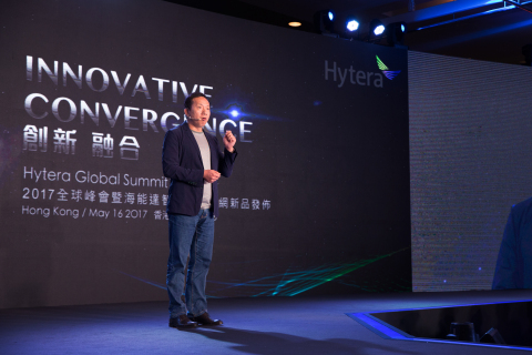 Qingzhou Chen, Founder and President of Hytera, addresses the Hytera Global Summit 2017 (Photo: Busi ...