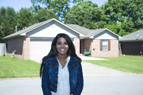 A $7,000 Homebuyer Equity Leverage Partnership grant from FHLB Dallas and Centennial Bank helped an Arkansas mother purchase her first home. (Photo: Business Wire)