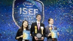 "Amber Yang (from left), Ivo Zell and Valerio Pagliarino take the stage on Friday, May 19, 2017, at the 2017 International Science and Engineering Fair, a program of Society for Science & the Public and the world's largest international pre-college science competition. Zell, of Lorch, Germany, was awarded first place for designing and constructing a remote control prototype of a new ""flying wing"" aircraft. Yang, of Windermere, Florida, and Pagliarino, of Castelnuovo Calcea, Italy, received Intel Foundation Young Scientist Awards. (Credit: The Society for Science & the Public)"