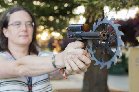 Kallisti Kilmer Shows Off Her Props At Maker Faire Bay Area 2017. (Photo: Business Wire)