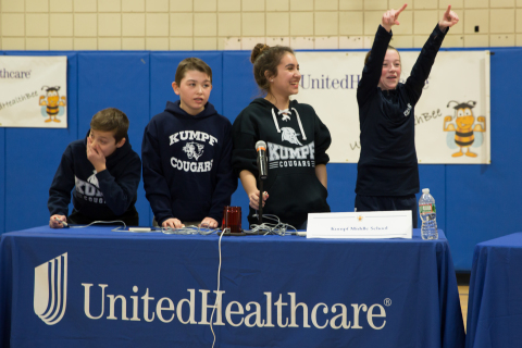 Seventh graders from Carl H. Kumpf Middle School celebrate adding another point to the scoreboard, leading to their victory at the 2017 UnitedHealthcare Health Bee competition in Scotch Plains, N.J. From left to right: Vincent Benevento, Matt Brophy, Danae Arbello and Anna Ninashvilli (Photo: Clutch Shot Productions).