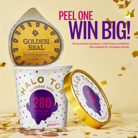Halo Top Creamery celebrates 5-year anniversary with Golden Seal Sweepstakes. 5 lucky winners will each win a 4-day vacation for two to Maui, $5,000 to spend at their local grocery retailer and the chance to make a dream come true at their local Make-A-Wish® Foundation chapter. (Graphic: Business Wire)