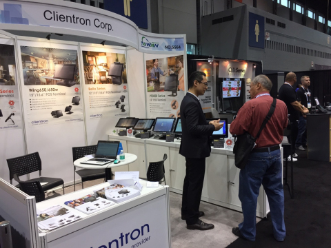 Clientron displays POS terminals with NFC multi-payment solution at NRA Show 2017 (Graphic: Business Wire)