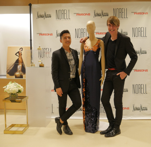 NORELL x PARSONS x NEIMAN MARCUS Award Reception: Anthony Galante, student winner, and Ken Downing, Senior Vice President and Fashion Director of Neiman Marcus, pose with the winning design (Photo: Business Wire)