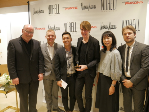 NORELL x PARSONS x NEIMAN MARCUS Award Reception:(from L to R) Donald Loftus, President of Parlux Ltd. and Chairman of The Fashion Group International, Burak Cakmak, Dean of the School of Fashion, Parsons School of Design, Anthony Galante, student winner, Ken Downing, Senior Vice President and Fashion Director of Neiman Marcus, Yujin Heo, Vice President, Creative at Neiman Marcus, and Jasonpaul McCarthy, Director, AAS Fashion Design &AAS Fashion Marketing, Parsons School of Design, posing with the Norell Elixir Fragrance launched in Fall 2016 (Photo: Business Wire)