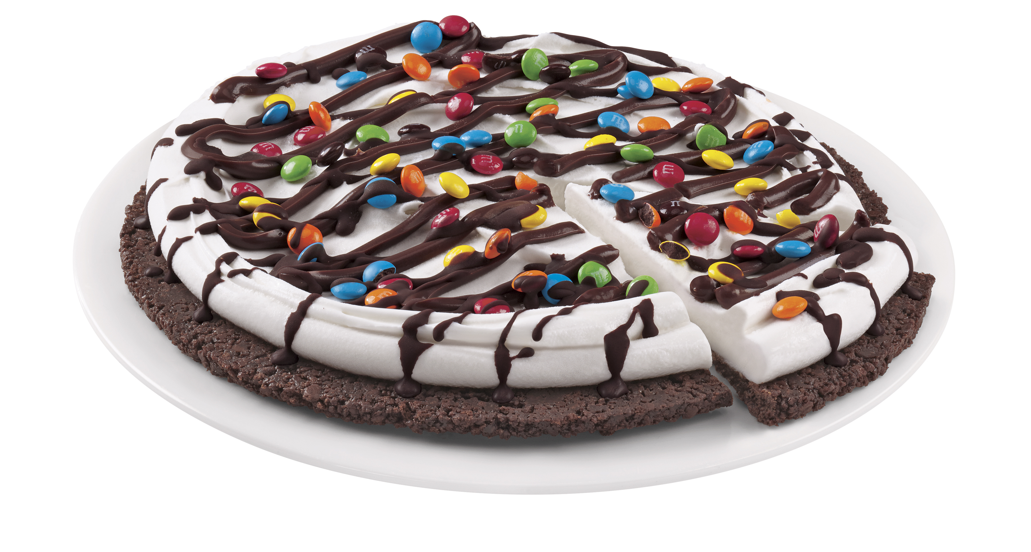 Fans can choose from Choco Brownie, Reese's®, M&M® and Heath® Treatzza Pizzas. The crust is hand-made with a fudge cookie crunch that's layered with DQ®'s signature vanilla soft serve, candy pieces and topped off with a chocolate drizzle. Just like a traditional pizza pie, Treatzza Pizzas are pre-cut to serve up to eight fans. (Photo: Business Wire)