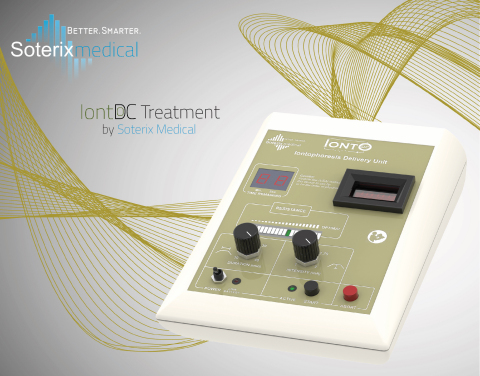 The FDA cleared IontoDC™ device is intended to use direct current to introduce ions of soluble salts or other drugs into the body. The IontoDC™ device provides 10, 20, 30, or 40 minutes of Direct Current with an intensity of 1, 1.5, 1.75, or 2 mA. (Photo: Business Wire)