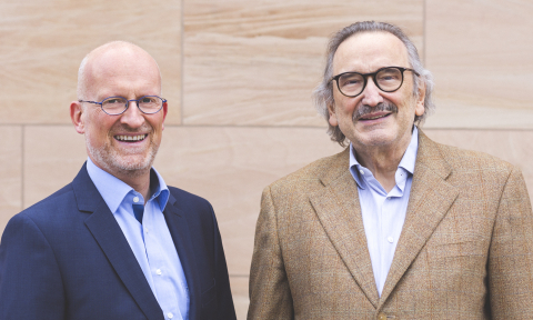 Dr. Reimar Schlingensiepen (left), the newly appointed CEO of AudioCure Pharma GmbH, takes over from Prof. Hans Rommelspacher, founder of the company, who continues as CSO. (Photo: Business Wire)