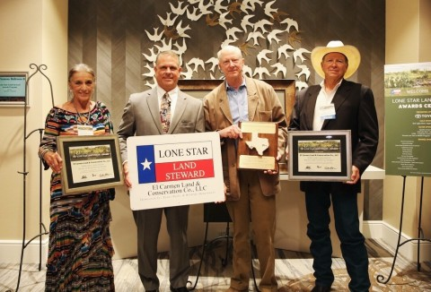 CEMEX USA presented with the 2017 Lone Star Land Steward Award for the Trans Pecos Ecoregion by the Texas Parks and Wildlife Department. (Pictured from left to right: Bonnie McKinney, El Carmen Land & Conservation Co., LLC; Scott Ducoff, CEMEX USA; Josiah Austin, El Carmen Land & Conservation Co., LLC; and Billy Pat McKinney, El Carmen Land & Conservation Co., LLC) (Photo: Business Wire)