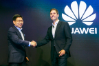 Giles Baker, SVP, Consumer Entertainment Group, Dolby Laboratories, joins Richard Yu, Huawei's CEO, on stage to announce a new series of MateBook laptops featuring the world's first Dolby Atmos Sound System. (Photo: Thomas Rosenthal)