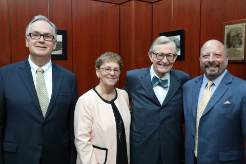 WVU President Dr. E. Gordon Gee with this year's Distinguished Alumni: Dr. George Fahey, Dr. Linda C ...