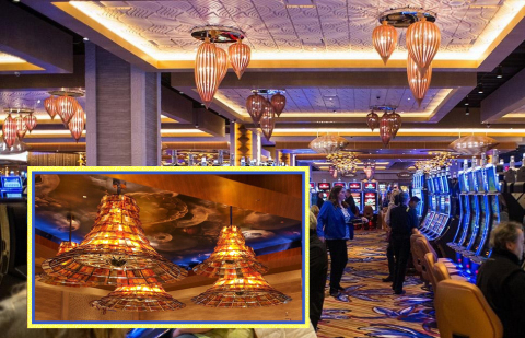 Royal Contract Lighting hand-worked art glass, wood, bronze, and steel into hundreds of pieces that light up the Ilani Casino Resort in the Pacific Northwest. (Photo: Business Wire)