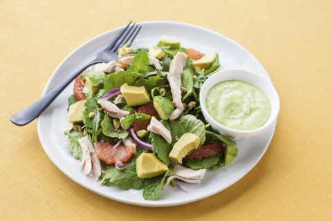 Smoked Chicken and Baby Kale Salad with Creamy California Avocado Dressing Recipe by Anthony Chin on behalf of the California Avocado Commission (Photo: Business Wire)