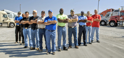 Professional drivers from several companies in the Daseke family gather for a company event in Gainesville, Texas. As North America's largest owner and a leading consolidator of open-deck specialized transportation solutions, Daseke is offering a ground-breaking new stock plan designed around their professional company drivers. (Photo: Business Wire)