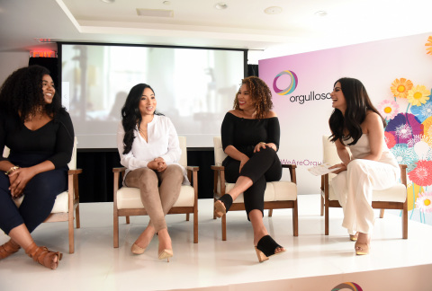 Actress Emeraude Toubia, right, moderates a panel with Georgina Morillo, Hiliana Devila and Ada Rojas, left to right, the participants of a docu-style video launched by P&G's Orgullosa, to challenge the misconceptions of Latina beauty at the #WeAreOrgullosa event, Tuesday, May 23, 2017 in New York. P&G brands Crest, Herbal Essences, Olay, Pantene, Secret and Venus sponsor the initiative. Visit Orgullosa.com to preview the film. (Photo by Diane Bondareff/Invision for P&G Orgullosa)