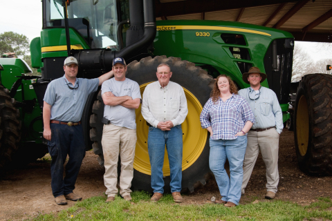 The Newby family—seventh-generation farmers from Athens, Alabama—will work with Wrangler on this new pilot program. (Photo by Alicia Looney Photography)