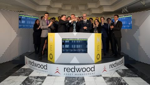 Redwood Asset Management, including President Peter Shippen, joined Erik Sloane, Head of Business Development, Funds at NEO, to open the market in celebration of the launch of two new Redwood ETFs that commenced trading today. (Photo: Business Wire)