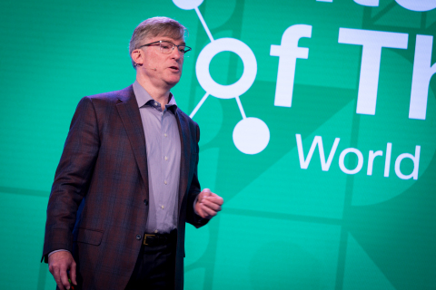 Blake Moret, president and CEO of Rockwell Automation, explains how the Internet of Things impacts industrial productivity at Cisco's IoT World Forum in London. (Photo Credit: Aidan Synnott)