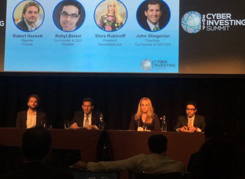 ERI's John Shegerian (second from left) shared insights about digital security issues as part of a panel discussion at the Cyber Investing Summit yesterday at the New York Stock Exchange. l-r: Robert Hackett (Fortune); John Shegerian (ERI); Shira Rubinoff (SecureMySocial); Rohyt Belani (PhishMe). (Photo: Business Wire)