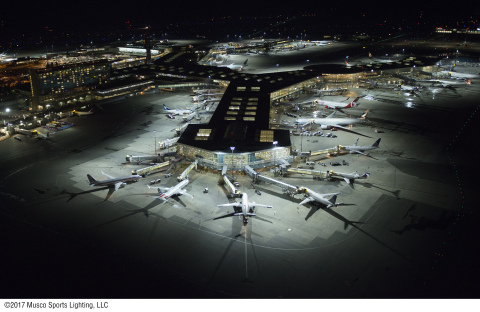 The remarkable uniformity and light quality of Musco's TLC for LED™ virtually eliminates glare and off-site spill, enhancing operations for pilots, air traffic controllers, and ground staff. (Photo: Musco Lighting)