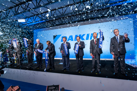 Distinguished guests join Takeshi Ebisu, CEO Goodman Global Inc. in cutting the ribbon to mark the opening of the Daikin Texas Technology Park, Wednesday, May 24, 2017 in Waller, Texas. (Paul Ladd/AP Images for Daikin)