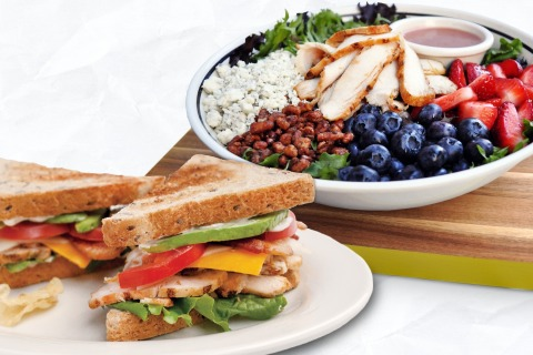 Corner Bakery Cafe's new Fresh Flavors menu features the Berry Pecan Salad and Chicken Bacon Avocado Club sandwich. (Photo: Business Wire)