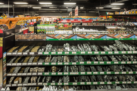 """At Roadside Lumber and Hardware, these MiTek retail sets display 650 products from MiTek Builder Products, including fasteners, hangers, connectors, embedments, epoxies, and more. These new """"retail sets"""" just won top honors from the North American Retail Hardware Association. (Photo: Business Wire)"""