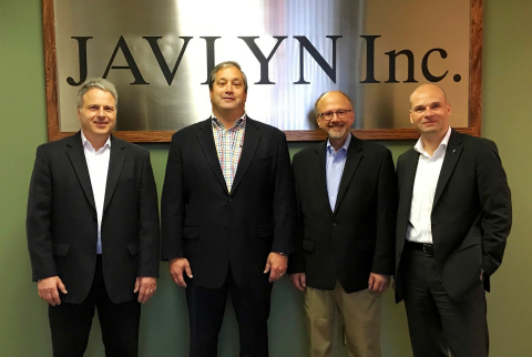 From left to right: Victor Tifone/President, Javlyn; Tim Raymond/EVP Sales & Marketing, Krones Inc.; Ron Bielinis/Vice President, Javlyn; Holger Beckmann/President & CEO, Krones Inc. (Photo: Krones Inc.)