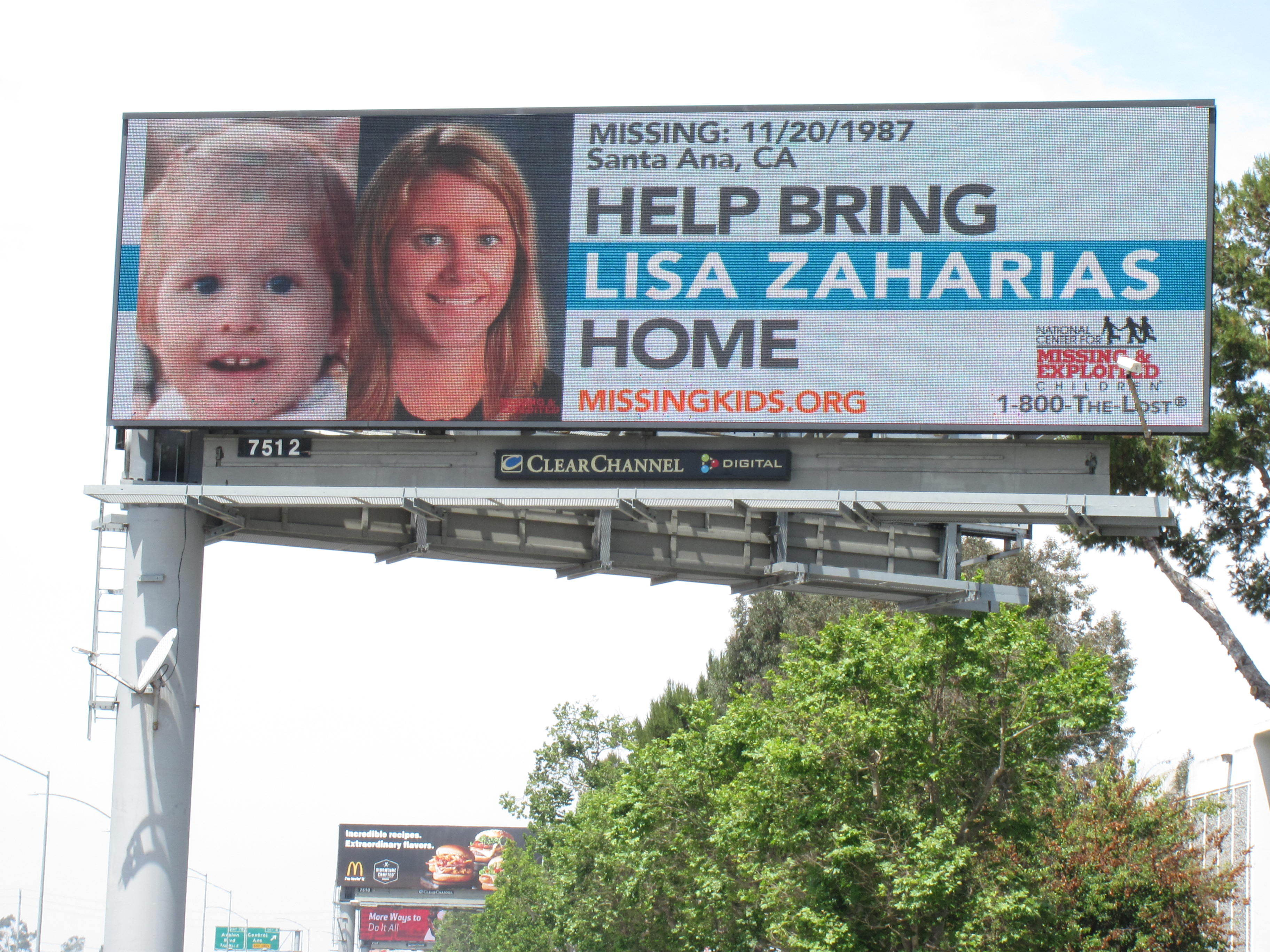 Lisa Zaharias, missing since 1987, now has a digital billboard to help bring her home. (Photo: Business Wire)