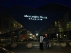 Mercedes-Benz Stadium roared to life this morning as MBUSA vice president of marketing, Drew Slaven ceremonially lit the three-pointed star and script on the Stadium in Atlanta. (Jason Hales/Mercedes-Benz)