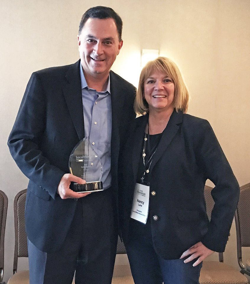 Propel Marketing's CEO Peter Cannone accepts the award from Nancy Lane, President of LMA, for Best Digital Agency on behalf of Propel at Local Media Association's Digital Revenue Summit. (Photo: Business Wire).