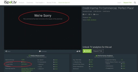 Credit Karma TV commercial, 'Perfect Place' removed at the request of advertiser (Photo: Business Wire)
