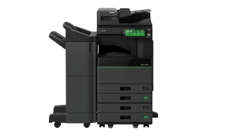 Toshiba Tec Corporation unveils the world's first hybrid multi-function peripheral (MFP), the e-STUDIO5008LP series, which prints regular black prints as well as erasable blue prints within one device. (Photo: Business Wire)